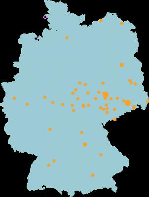 Deutschlandkarte auf welcher mit ettlichen Puntken die jeweiligen Referenzen eingezeichnet sind